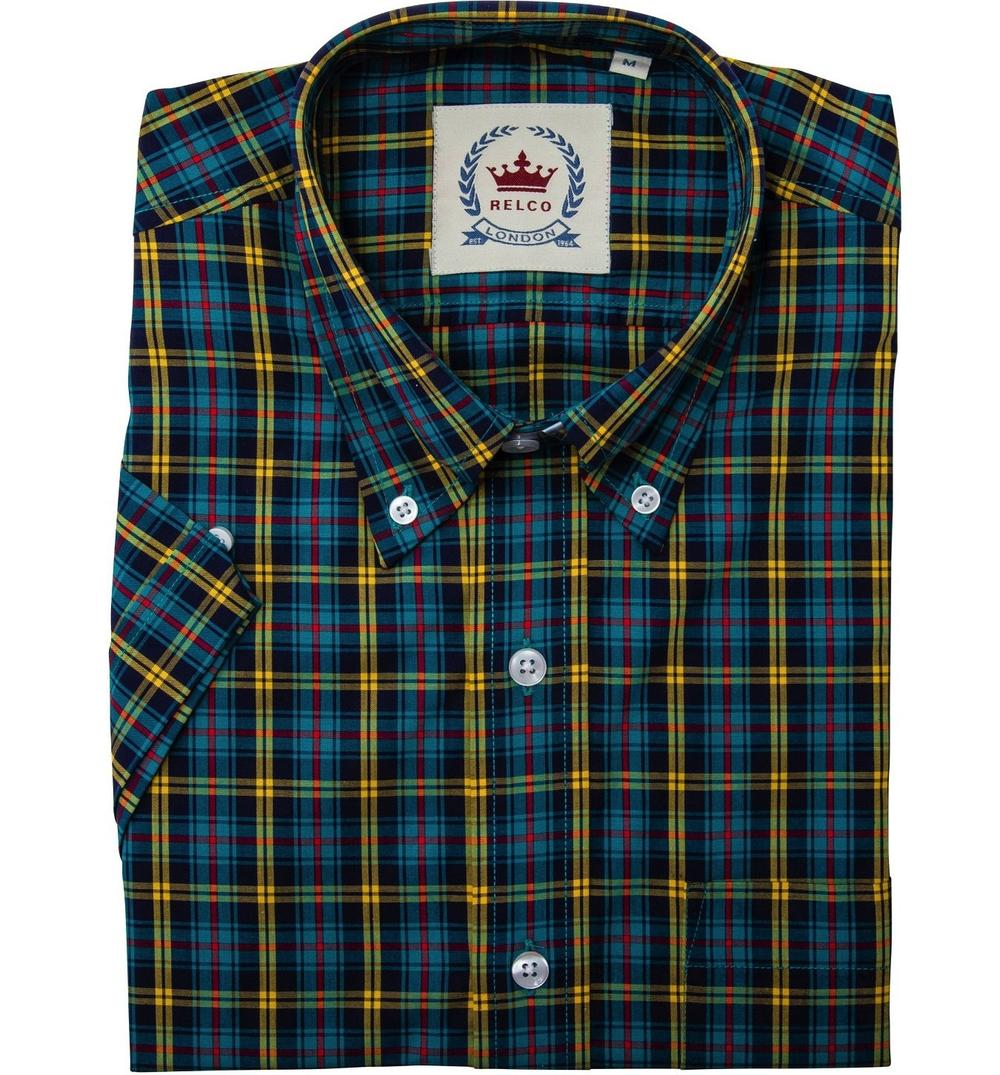 Relco Button Down Check Short Sleeve Shirt Petrol Blue and Yellow