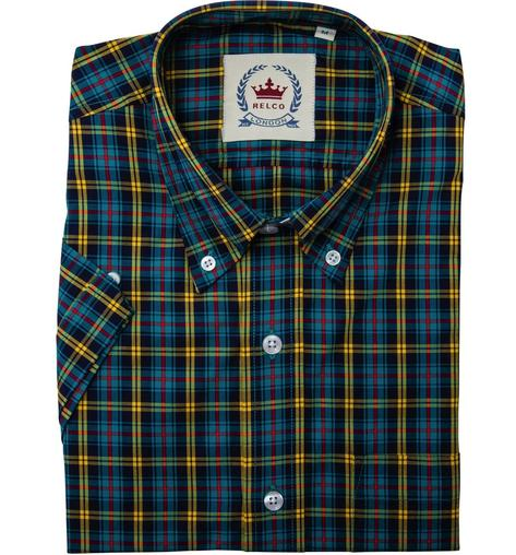 Relco Button Down Check Short Sleeve Shirt Petrol Blue and Yellow Thumbnail 1