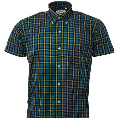 Relco Button Down Check Short Sleeve Shirt Petrol Blue and Yellow Thumbnail 2
