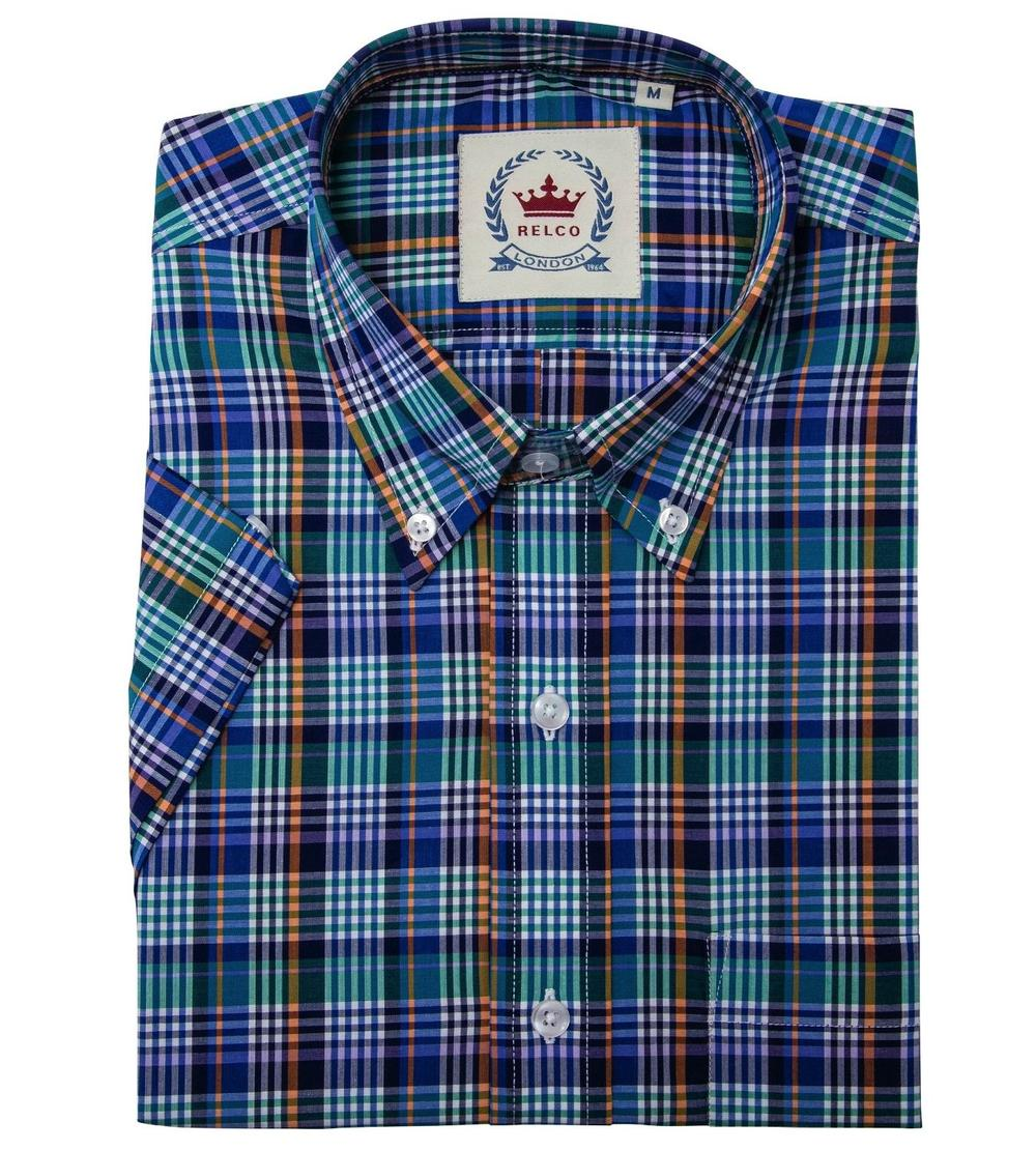Relco Button Down Check Short Sleeve Shirt Multi Blue