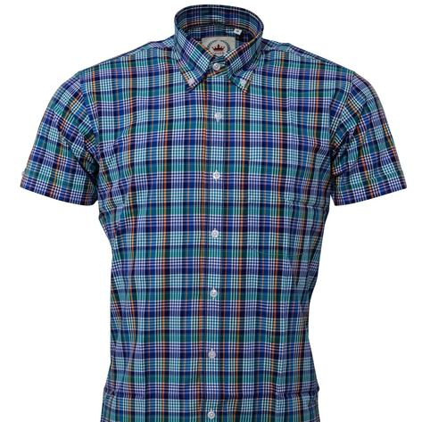 Relco Button Down Check Short Sleeve Shirt Multi Blue Thumbnail 2