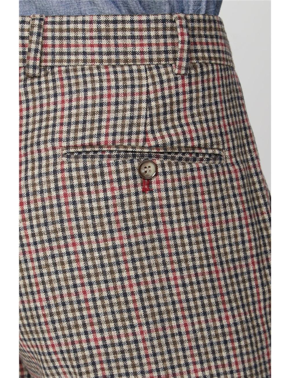 Gibson Fawn Black and Red Check Wool Mix Slim Fit Trousers