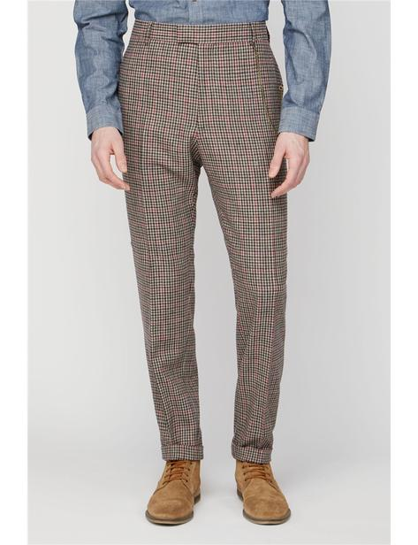 Gibson Fawn Black and Red Check Wool Mix Slim Fit Trousers Thumbnail 2