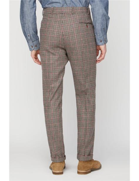 Gibson Fawn Black and Red Check Wool Mix Slim Fit Trousers Thumbnail 4