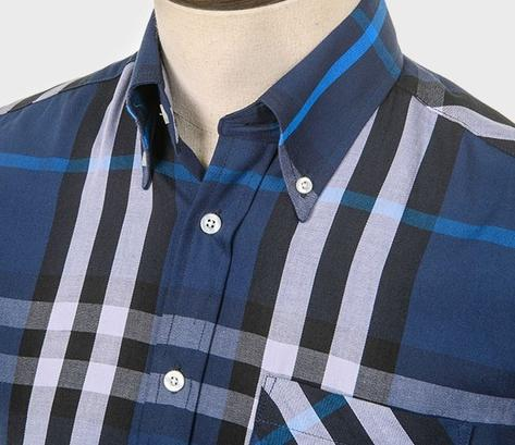Art Gallery Button Down Collar Large Check S/S Shirt Navy Thumbnail 2