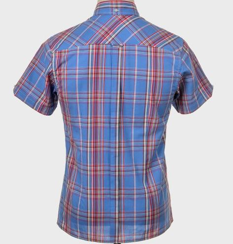Art Gallery Button Down Collar Retro Check S/S Shirt Blue Thumbnail 3