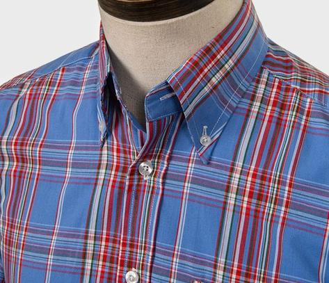 Art Gallery Button Down Collar Retro Check S/S Shirt Blue Thumbnail 2