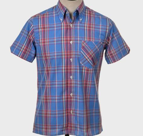Art Gallery Button Down Collar Retro Check S/S Shirt Blue