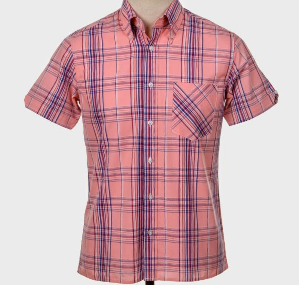 Art Gallery Button Down Collar Retro Check S/S Shirt Pink
