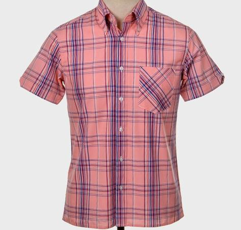 Art Gallery Button Down Collar Retro Check S/S Shirt Pink Thumbnail 1