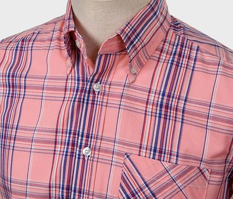 Art Gallery Button Down Collar Retro Check S/S Shirt Pink Thumbnail 2