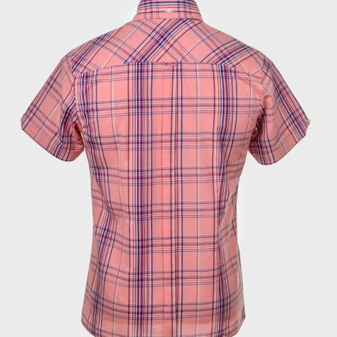 Art Gallery Button Down Collar Retro Check S/S Shirt Pink Thumbnail 3