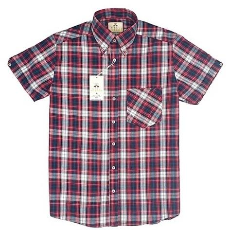 Real Hoxton Red Black Check Short Sleeve Shirt Thumbnail 1