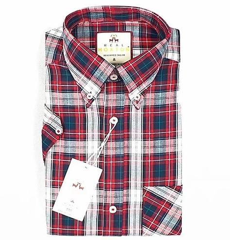 Real Hoxton Red Black Check Short Sleeve Shirt Thumbnail 2