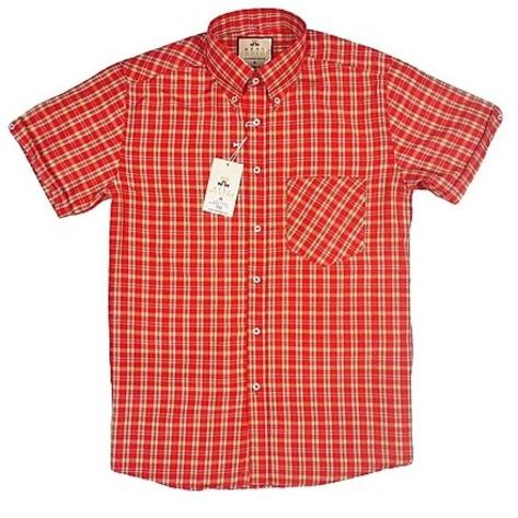 Real Hoxton Red Yellow Check Short Sleeve Shirt Thumbnail 1