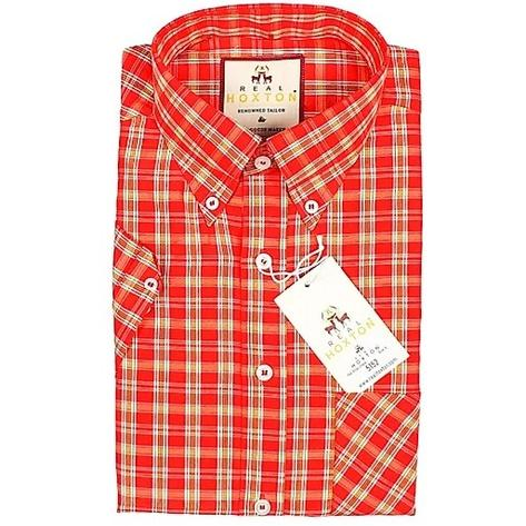 Real Hoxton Red Yellow Check Short Sleeve Shirt Thumbnail 2