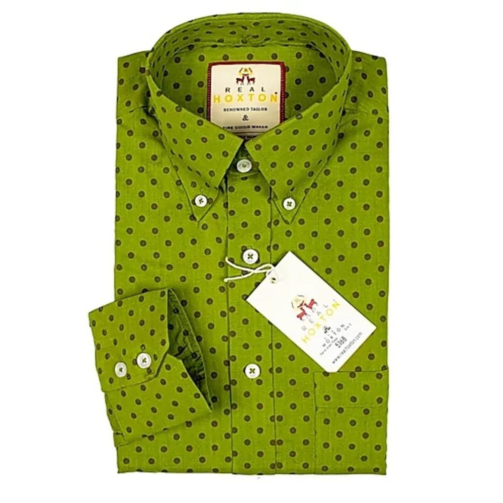 Real Hoxton Bright Green Polka Dot Long Sleeve Shirt