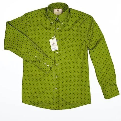 Real Hoxton Bright Green Polka Dot Long Sleeve Shirt Thumbnail 2
