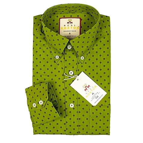 Real Hoxton Bright Green Polka Dot Long Sleeve Shirt Thumbnail 1