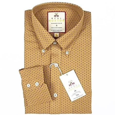 Real Hoxton Sand Pin Dot Long Sleeve Shirt Thumbnail 1