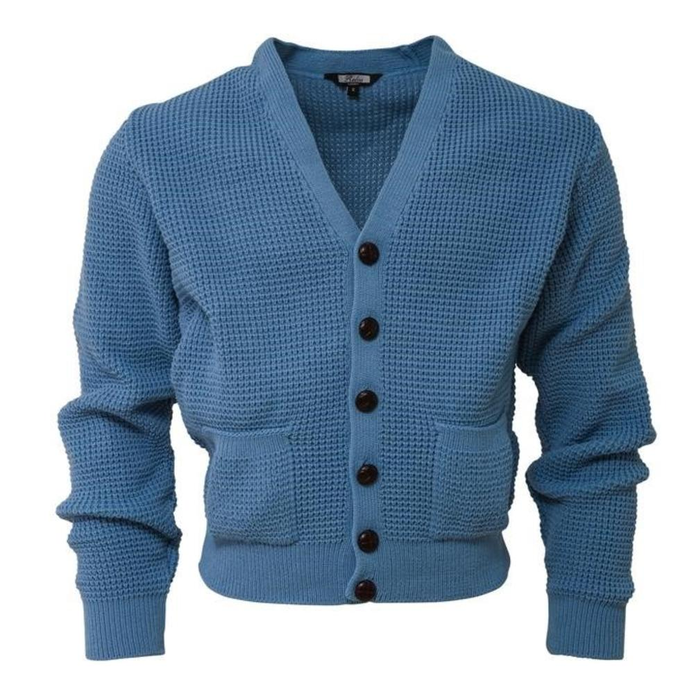 "Relco Pocket Waffle Knit Cardigan ""leather"" Football Buttons Dusty Blue"