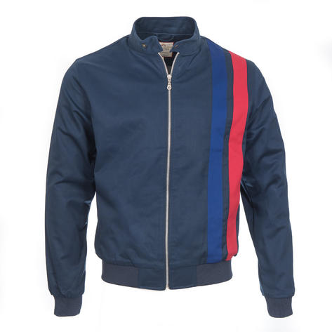 Real Hoxton Retro Rally Jacket Navy Blue Thumbnail 1