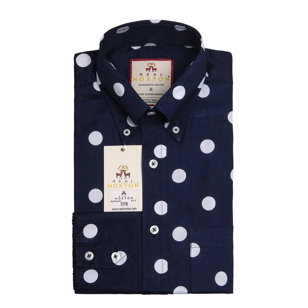 Real Hoxton Big Polka Dot Long Sleeve Shirt Navy