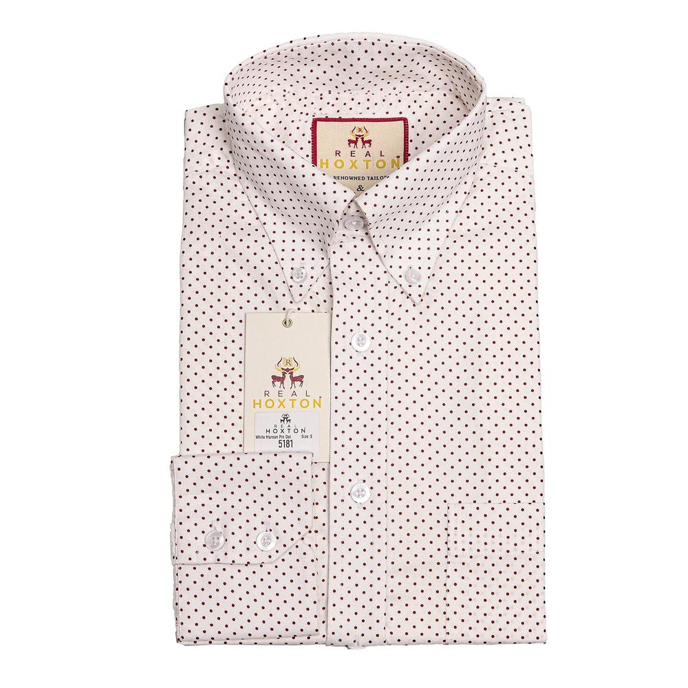 Real Hoxton White Maroon Pin Dot Long Sleeve Shirt