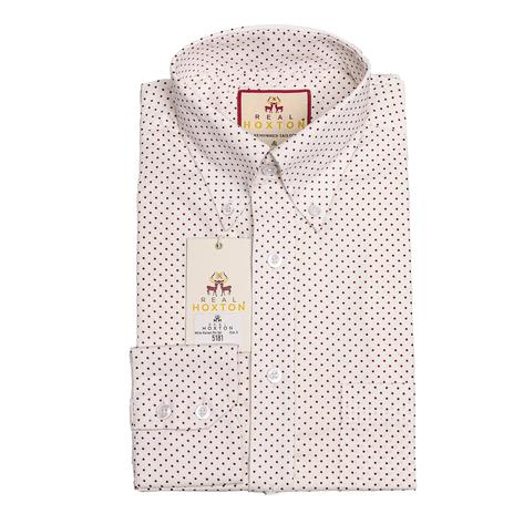 Real Hoxton White Maroon Pin Dot Long Sleeve Shirt Thumbnail 1