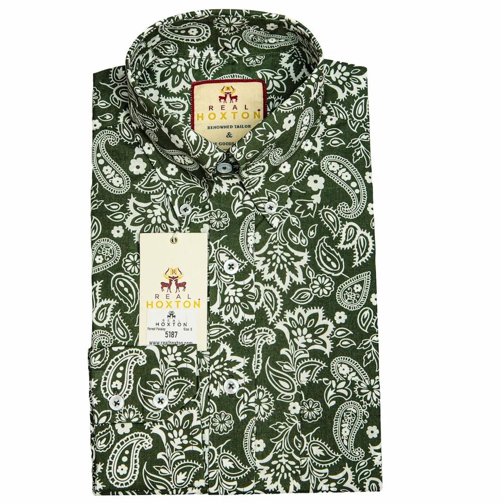 Real Hoxton Forest Green Paisley Long Sleeve Shirt