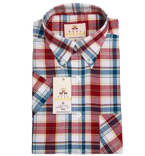 Real Hoxton Red White Blue Check Short Sleeve Shirt
