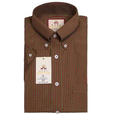 Real Hoxton Burgundy Green Gingham Short Sleeve Shirt Thumbnail 1