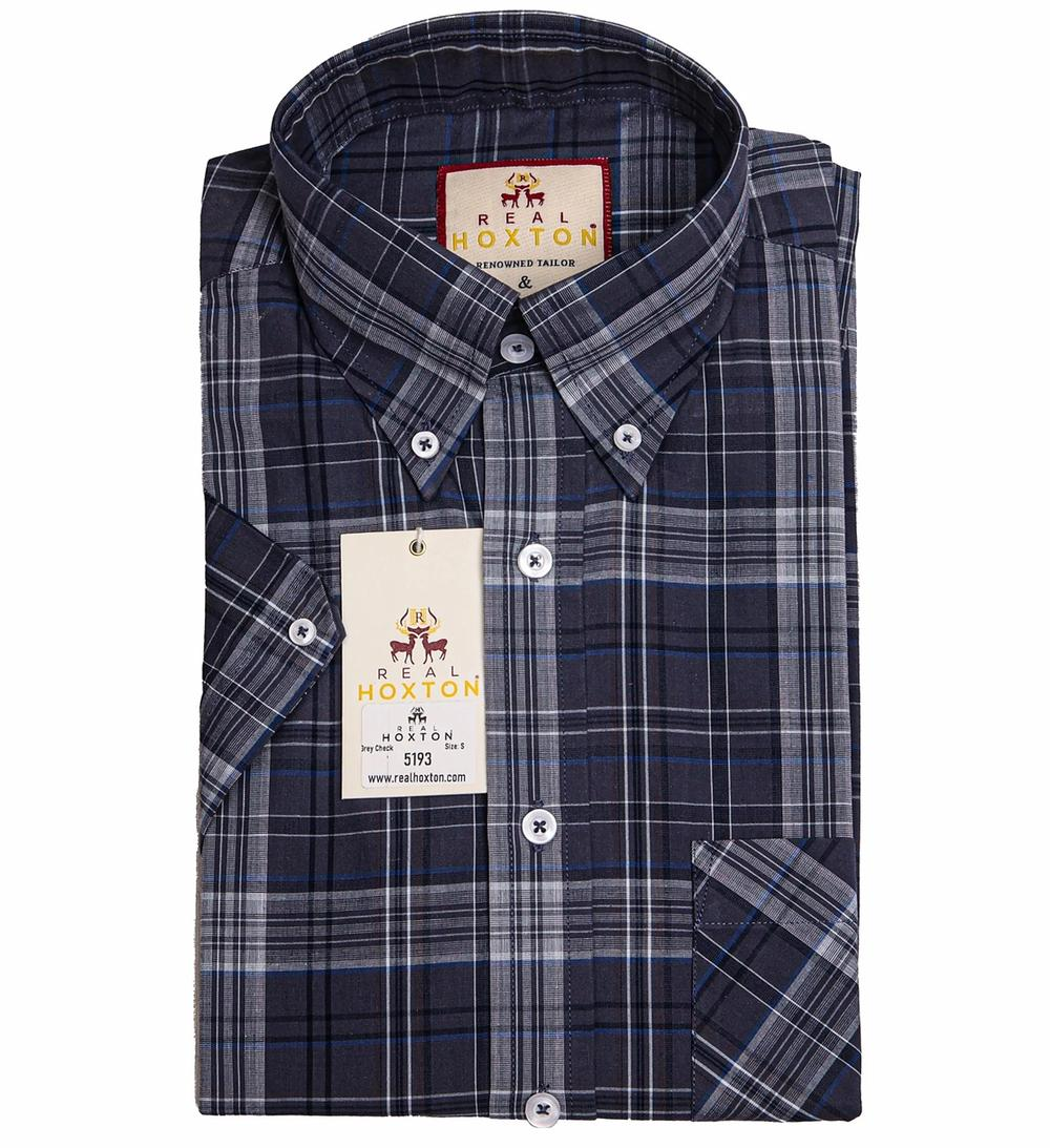Real Hoxton Grey Check Short Sleeve Shirt