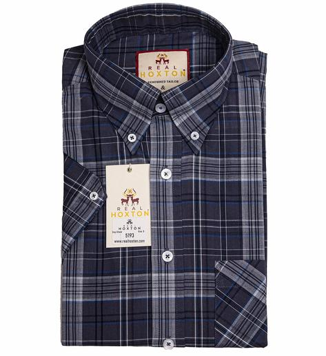 Real Hoxton Grey Check Short Sleeve Shirt Thumbnail 1