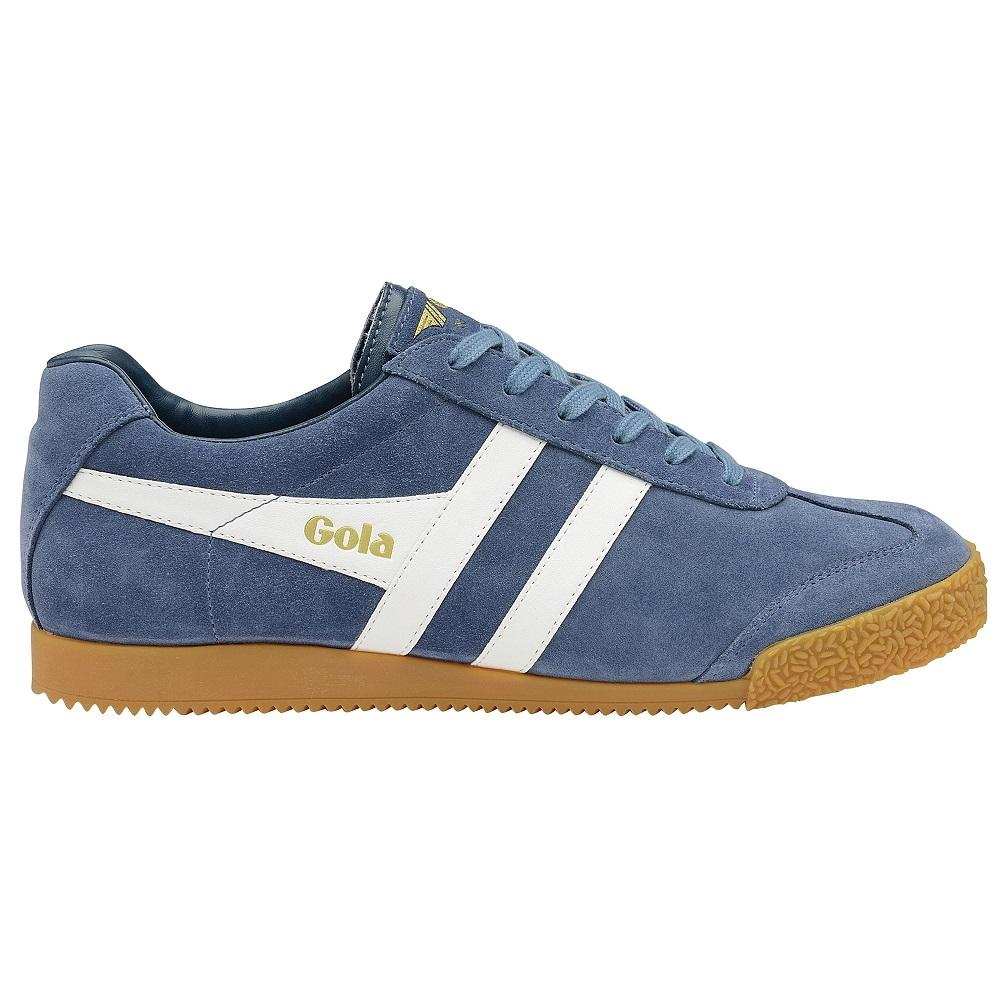 Gola Harrier Classic Twin Stripe Suede Mens Trainer Baltic / White