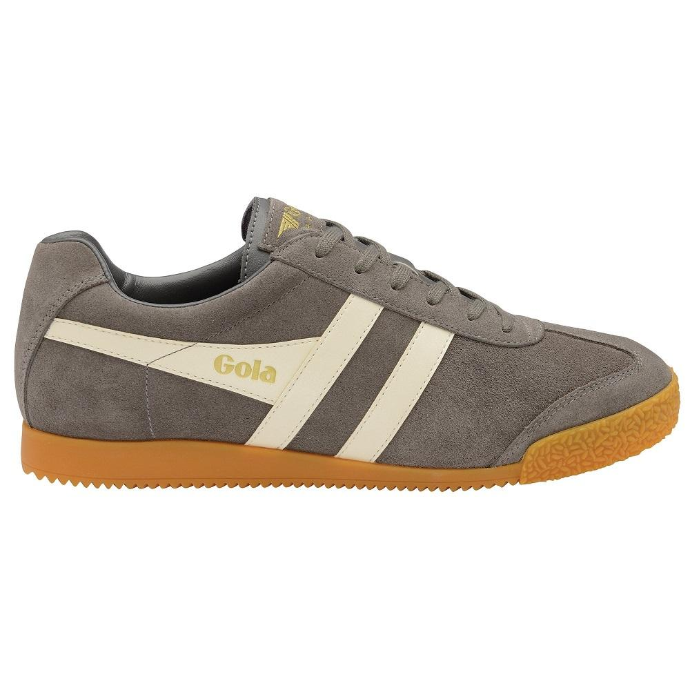 Gola Harrier Classic Twin Stripe Suede Mens Trainer Ash / Ecru