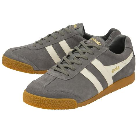 Gola Harrier Classic Twin Stripe Suede Mens Trainer Ash / Ecru Thumbnail 2
