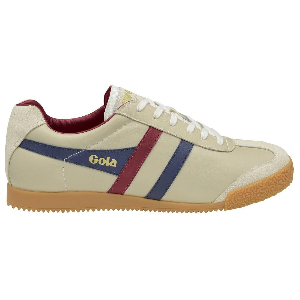 Gola Harrier Classic Twin Stripe Leather Mens Trainer Ecru / Navy / Burg UK