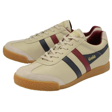 Gola Harrier Classic Twin Stripe Leather Mens Trainer Ecru / Navy / Burg UK Thumbnail 2