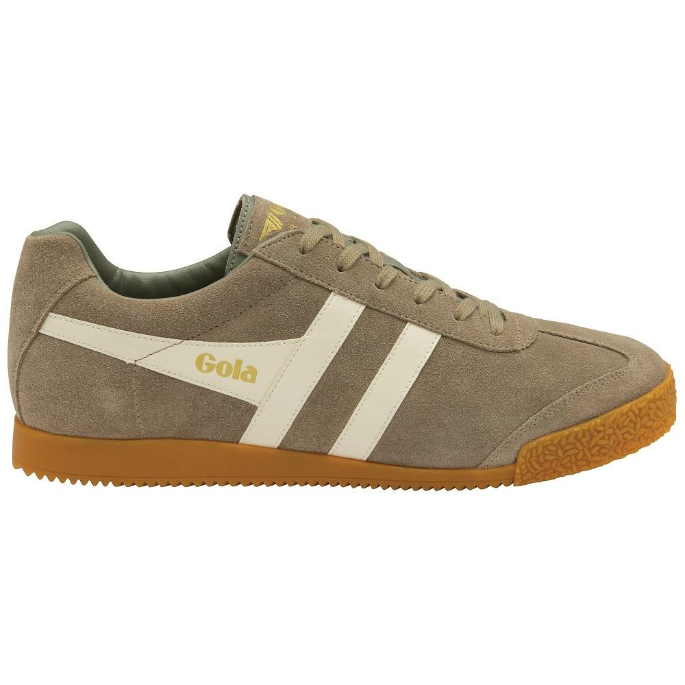 Gola Harrier Classic Twin Stripe Suede Mens Trainer Rhino / Off White