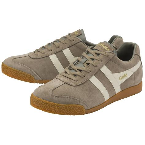 Gola Harrier Classic Twin Stripe Suede Mens Trainer Rhino / Off White Thumbnail 2