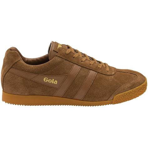 Gola Harrier Classic Twin Stripe Suede Mens Trainer Tobacco / Gum
