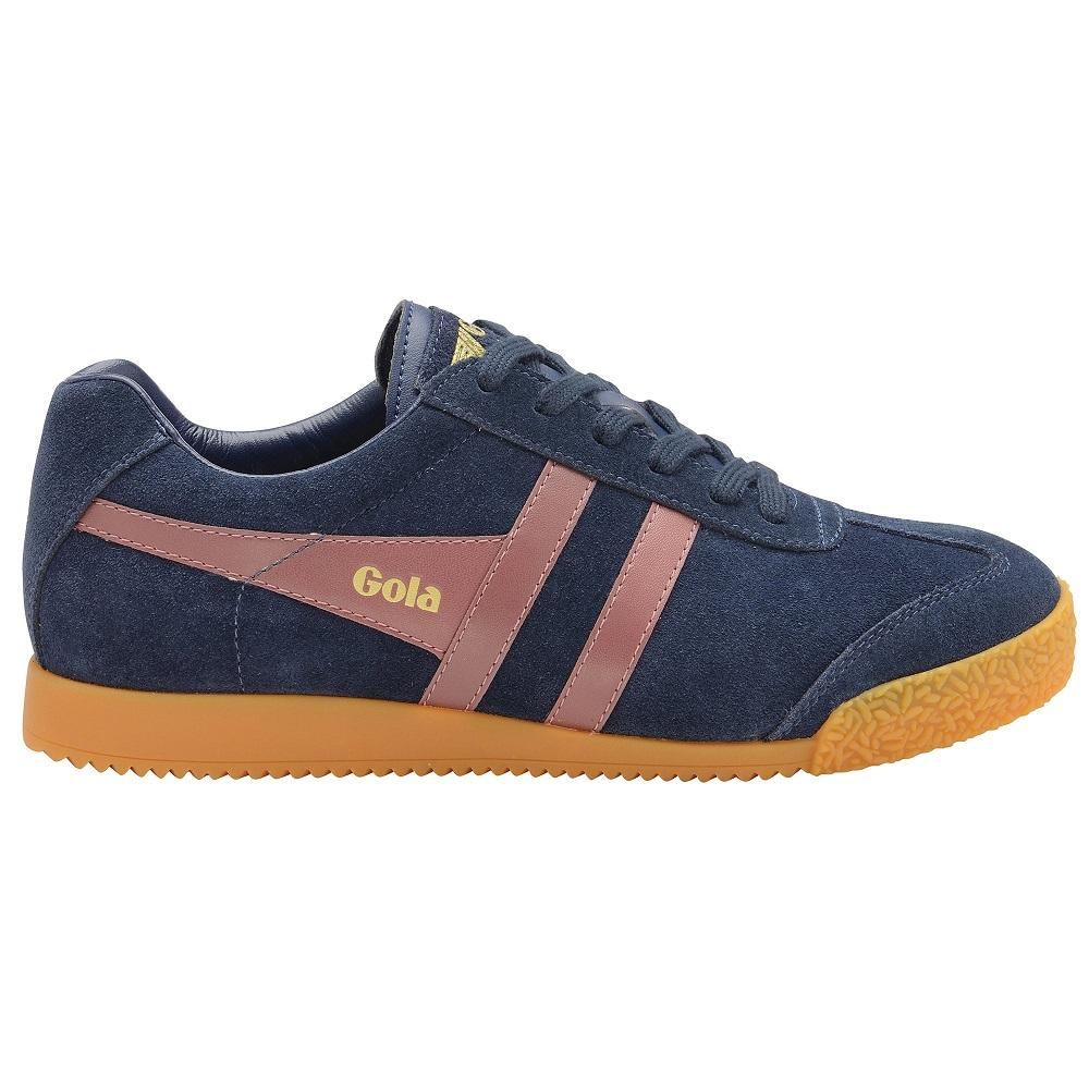 Gola Harrier Classic Twin Stripe Suede Mens Trainer Navy / Dk Burgundy