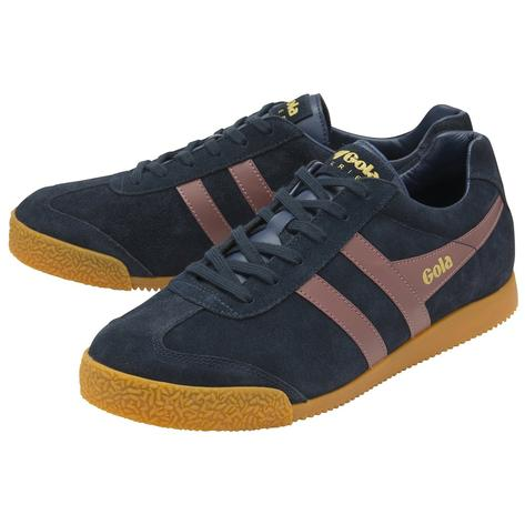 Gola Harrier Classic Twin Stripe Suede Mens Trainer Navy / Dk Burgundy Thumbnail 2