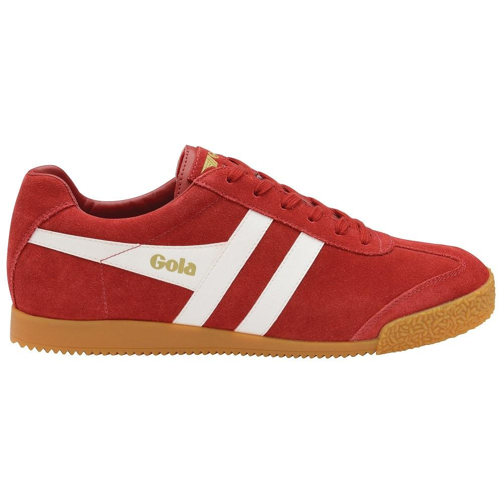 Gola Harrier Classic Twin Stripe Suede Mens Trainer Deep Red / White