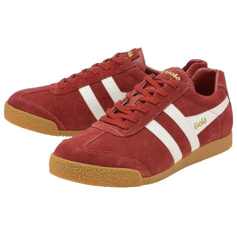 Gola Harrier Classic Twin Stripe Suede Mens Trainer Deep Red / White Thumbnail 2