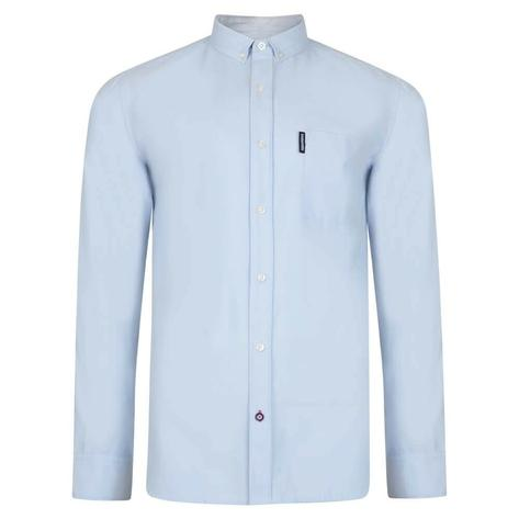 Lambretta Long Sleeve Pure Cotton Oxford Shirt Sky Blue Thumbnail 1