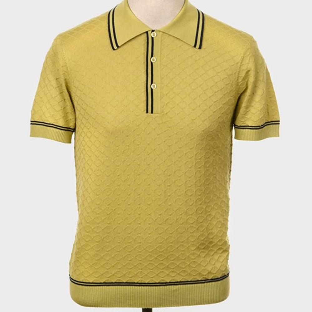 Art Gallery Fine Gauge Diamond Knit Polo Shirt Pistachio