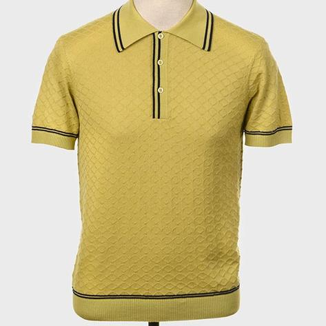 Art Gallery Fine Gauge Diamond Knit Polo Shirt Pistachio Thumbnail 1