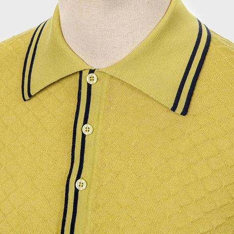 Art Gallery Fine Gauge Diamond Knit Polo Shirt Pistachio Thumbnail 2